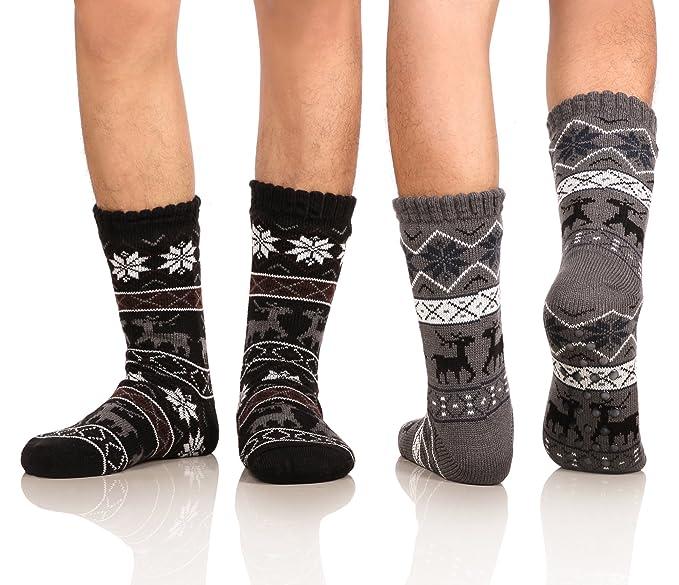 09d8cb21b0fe3 DoSmart Men's Winter Thermal Fleece Lining Knit Slipper Socks Skid Fuzzy  Warm Indoor Home Socks 2 Pairs