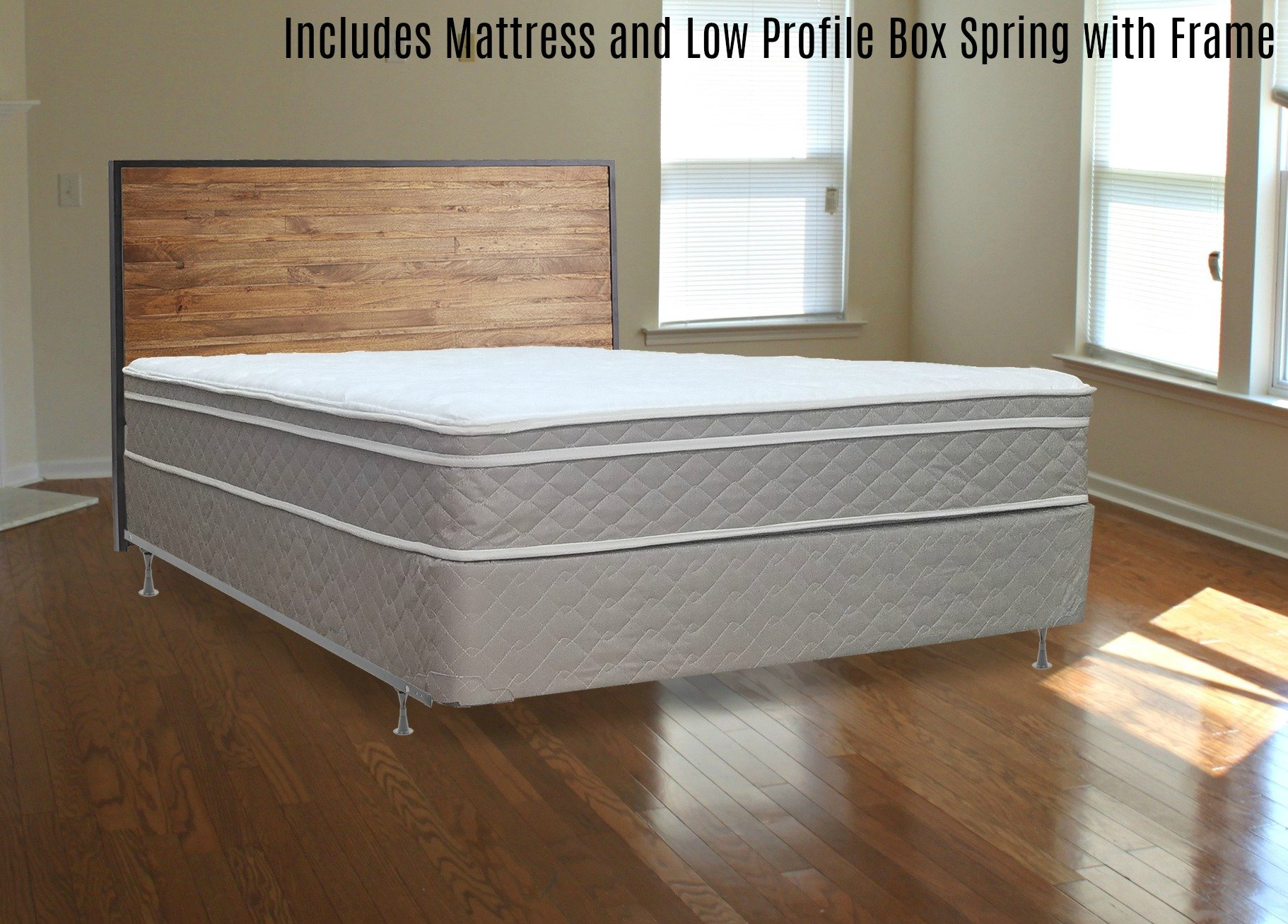 Full Assembled Orthopedic Mattress and 4'' Box Spring/Foundation Set with Frame, by Spinal Solution