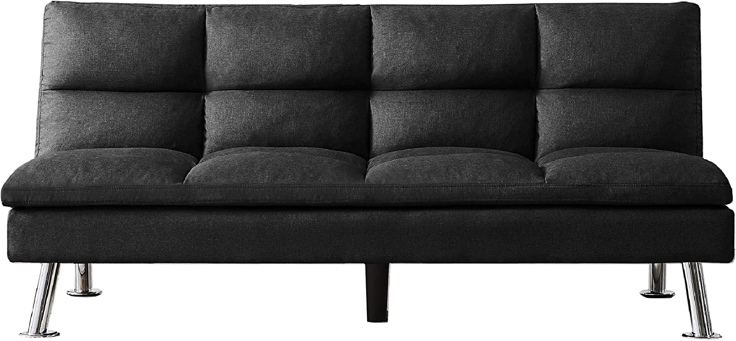 Merax Mini Futon Bed Couch, Modern Sofa Sleeper Design for Living Room or Bedroom, Including Metal Legs and Upholstery Sofabed, 71