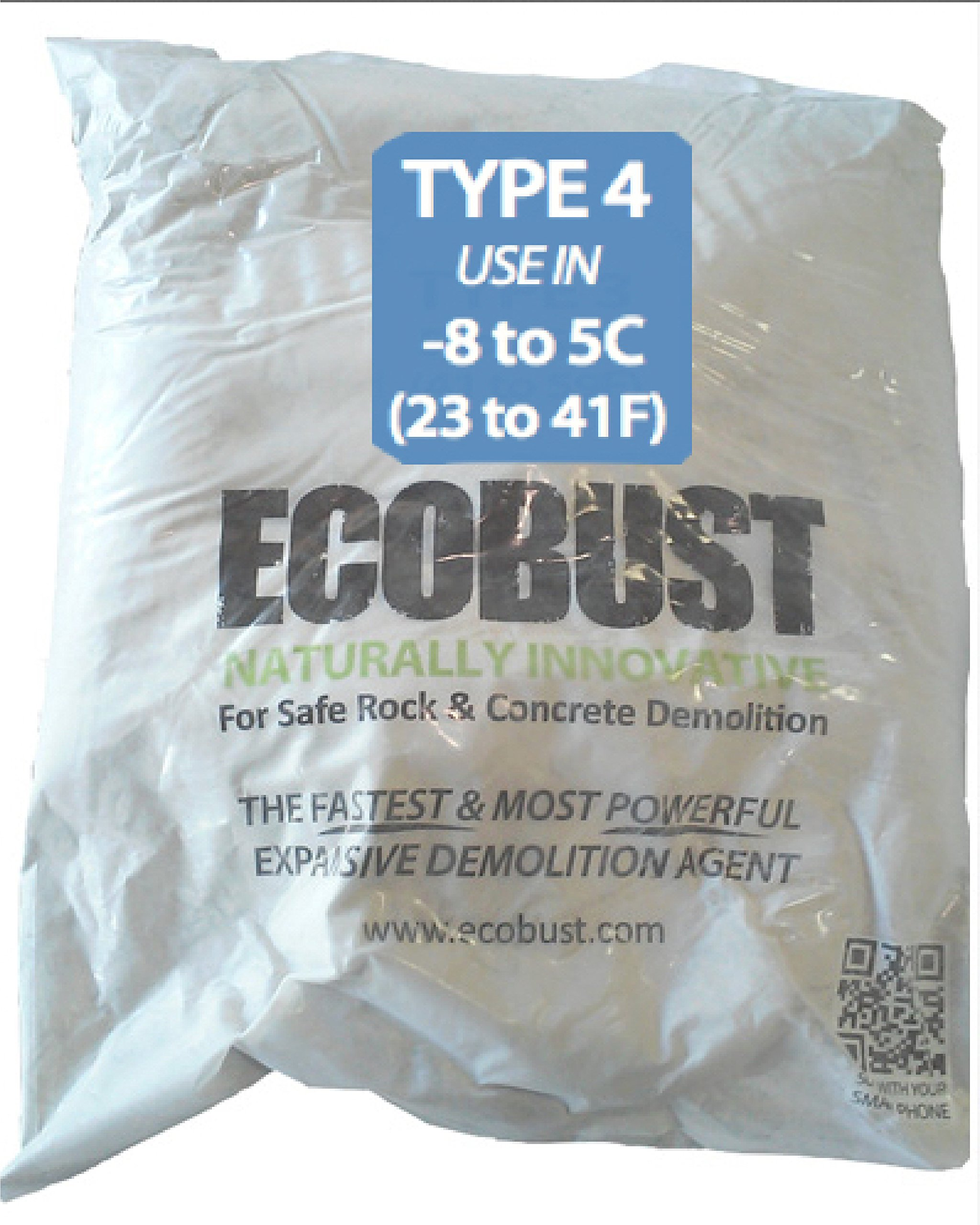 Ecobust USA Type 4 (18F to 40F) 11 lb Concrete Cutting and Rock Breaking Non-Combustive Demolition Agent
