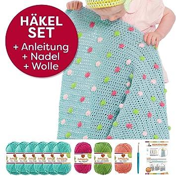 häkeln für baby: Myboshi Häkel-Set Babydecke mit Pünktchen 64cm x ...