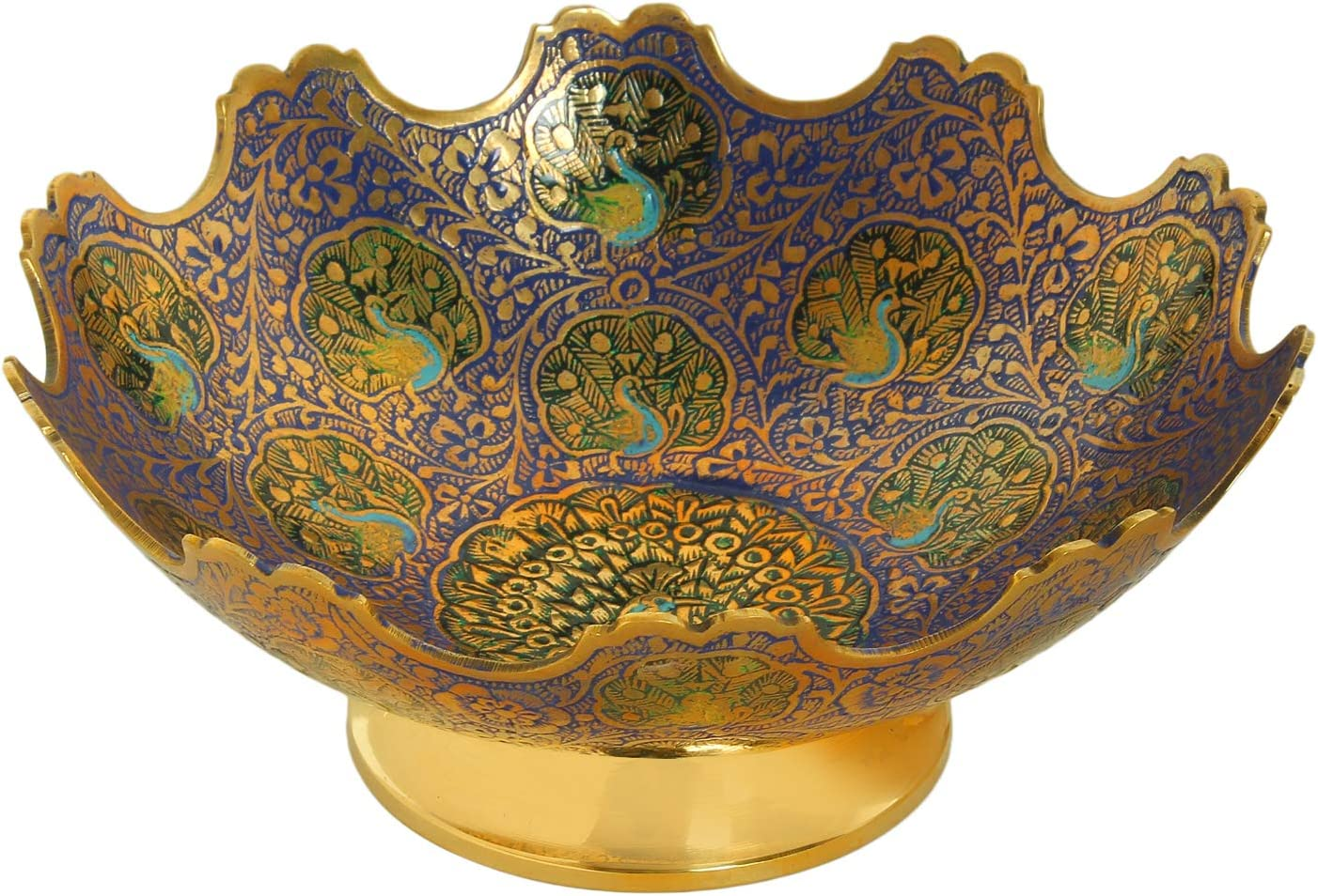 "Zap Impex Brass Decorative Dry Fruit Bowl carving Work - Size- 7"" Beautiful Peacock design Kitchenware Gift"