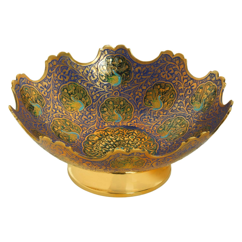 tama/ño-5Hermoso Color Azul Pavo Real dise/ño Utensilios de Cocina Regalo Zap Impex  /® lat/ón Decorativo taz/ón de Frutas secas Talla de Trabajo