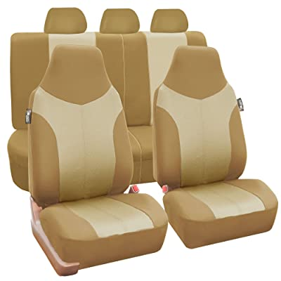 FH Group FB101BEIGETAN115 Beige Supreme Twill Fabric High-Back Car Seat Cover (Full Set Airbag Ready and Split Rear Bench): Automotive