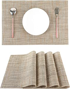 LILYKING Placemats for Dining Table, Heat-Resistant Placemats, Stain Resistant Washable Table Mats, Woven Textilene Non-Slip Insulation Placemat, Set of 4 (Heather Grey)