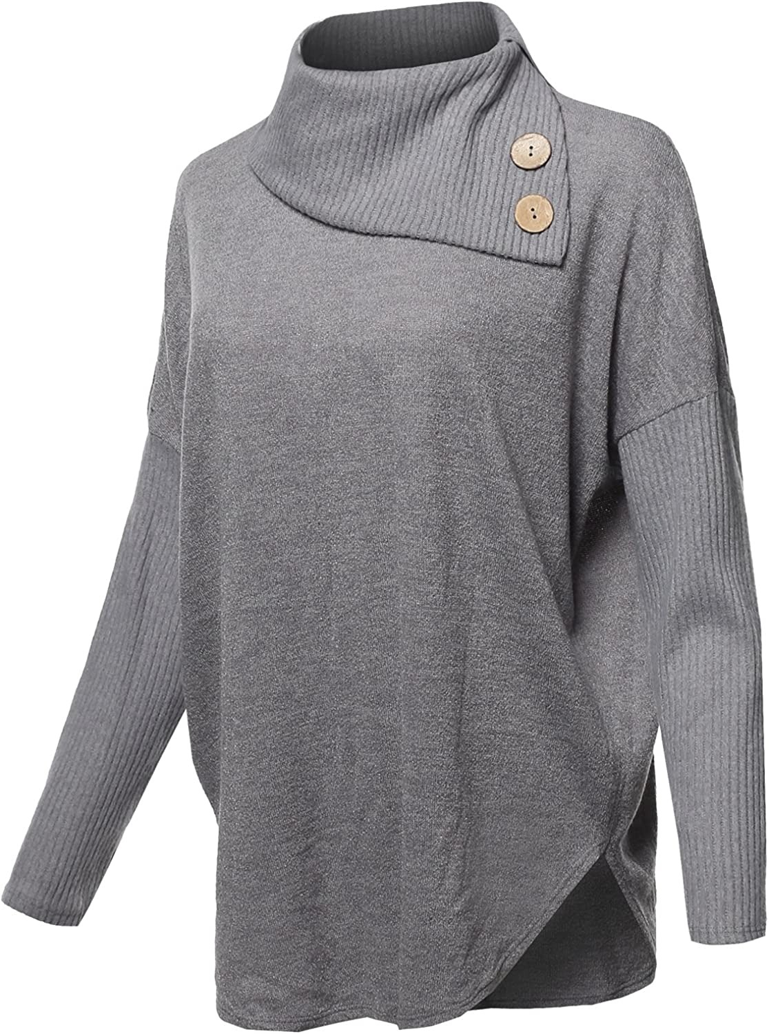 Womens Casual Loose Fit Drop Shoulder Cowl Neck Sweater Made in USA