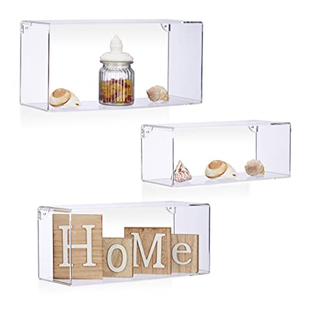 relaxdays acrylic floating shelf set of 3 wall shelves plastic rh amazon co uk 3 square wall shelves 3-piece wall cube shelves