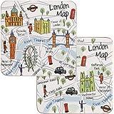 James Sadler JSLC00141 - Juego de 4 posavasos, diseño de mapa del metro de Londres