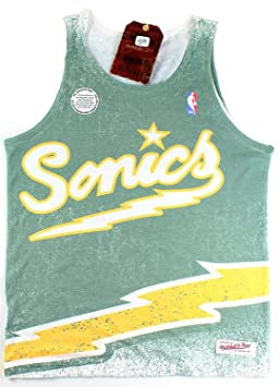 ec8c3a06821605 Image Unavailable. Image not available for. Colour  Seattle Supersonics NBA  Mitchell   Ness Men s Playoff Win Sublimated Tank Top ...