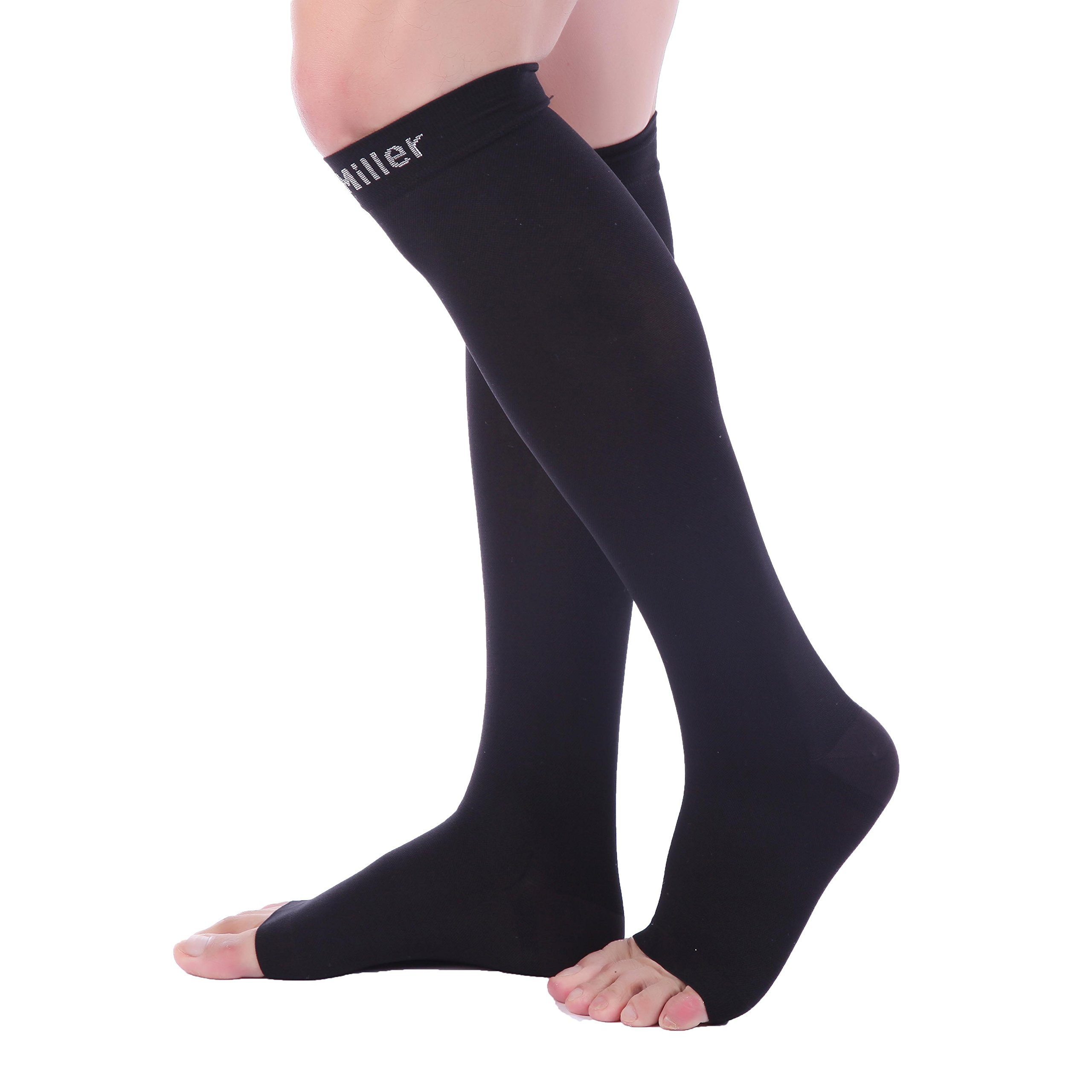 1f51a0f543 Doc Miller Premium Open Toe Compression Sleeve 1 Pair 20-30mmHg Strong Calf  Support Graduated Pressure for Sports Running Muscle Recovery Shin Splints  ...