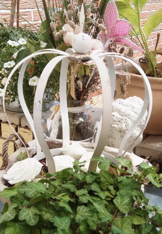 Jardín de corona decorativa de maceta–Corona de corona Metal Crema Envejecido Precio para 2unidades)