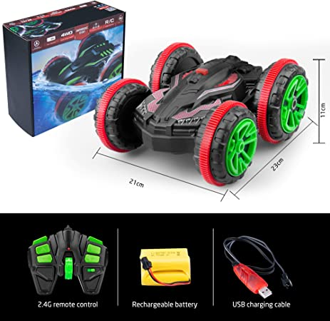 Norbase Radio Controlled Car, Amphibious Waterproof Stunt Remote Control Vehicle 2.4GHz Road Radio Controlled Truck, Gifts for Kids Double Side, 360