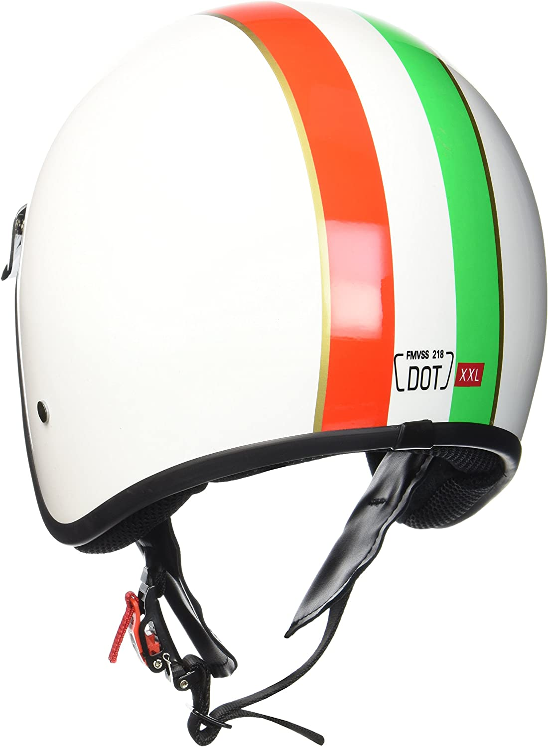 "61-62cm Armor /· AV-47 /""Red/"" red /· Casque Moto Jet /· Cruiser Scooter Demi Jet Retro Helmet Chopper /· DOT certifi/é /· Click-n-Secure/™ Clip /· Sac fourre-tout /· XL"