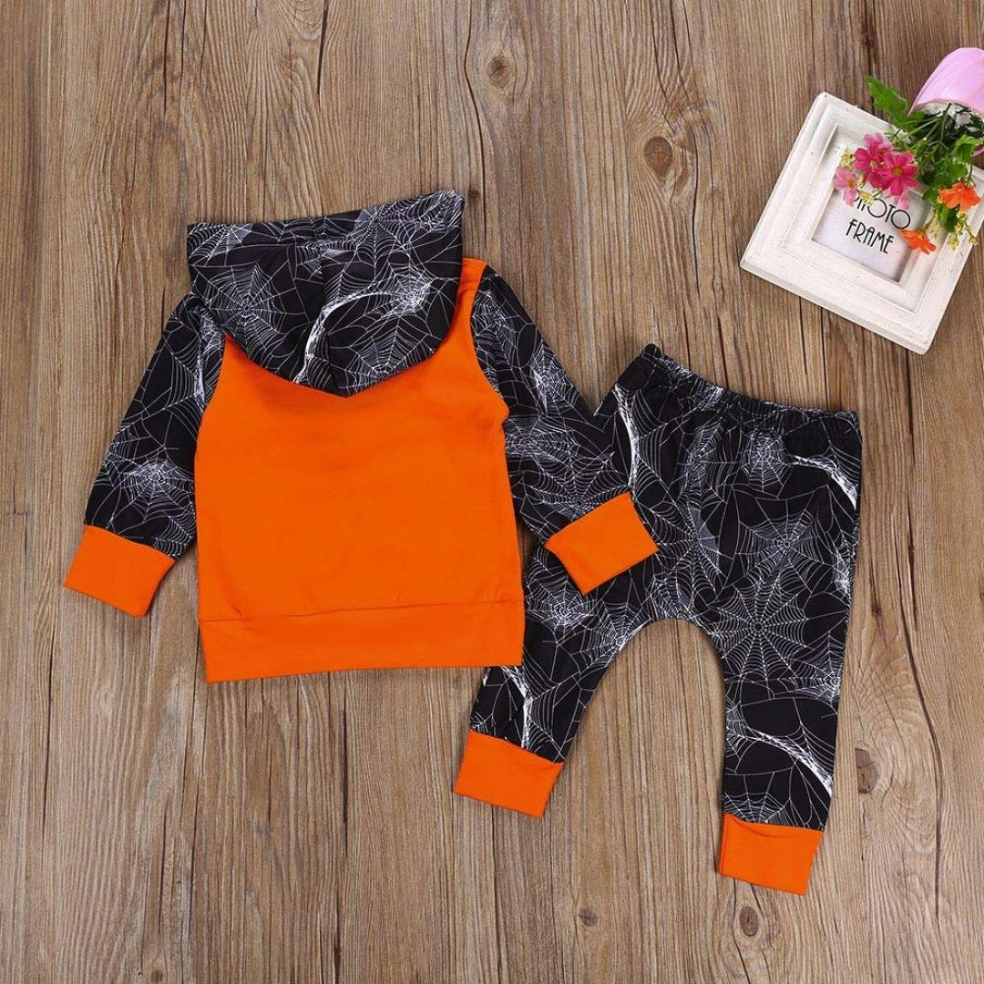 Staron  Baby Hoodie Boys Spider Web Halloween Clothes Set Hooded Tops+Pants Outfits
