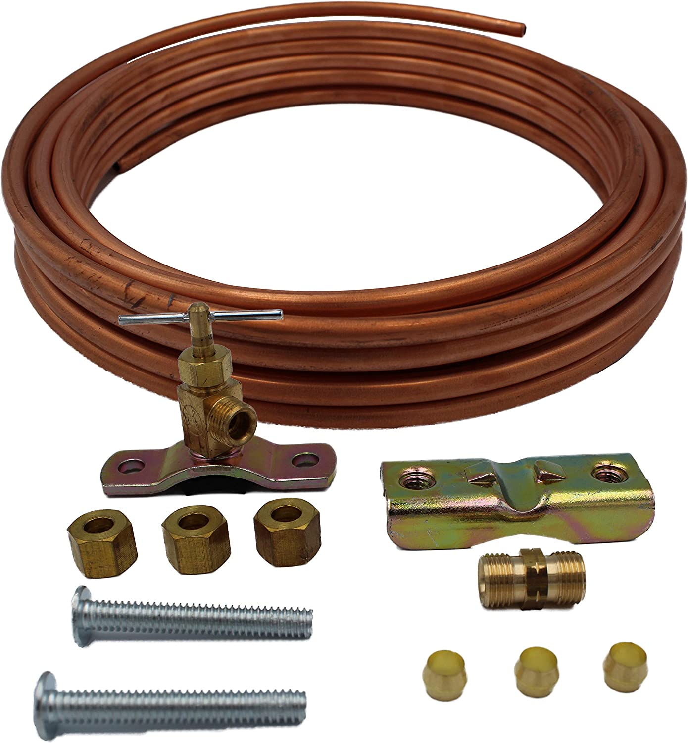 Supplying Demand SD25 Copper Line Tubing Kit For Icemaker Ice Machine Residential Water Or Humidifier Installation Hook Up - Self Tapping Valve Included (25 Foot)