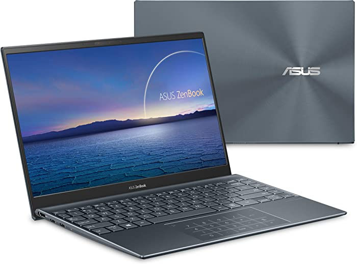 "ASUS ZenBook 14 Ultra-Slim Laptop 14"" Full HD NanoEdge Bezel Display, Intel Core i5-1035G1, 8GB RAM, 512GB PCIe SSD, NumberPad, Thunderbolt 3, Windows 10 Home, Pine Grey, UX425JA-EB51"