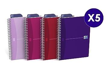 OfficeCentre Oxford Office Beauty - Cuadernos de anillas (A5, 180 páginas), multicolor - Pack de 5 unidades: Amazon.es: Oficina y papelería