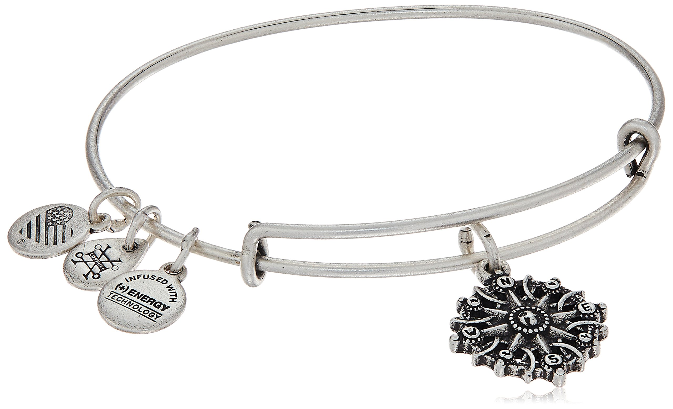 Alex and Ani Compass III Rafaelian Silver Bangle Bracelet
