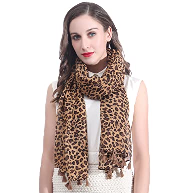 7b94b143a68ba Lina   Lily Animal Print Women s Large Scarf Lightweight (Leopard-Brown)(Size   180cm x 90cm)  Amazon.co.uk  Clothing