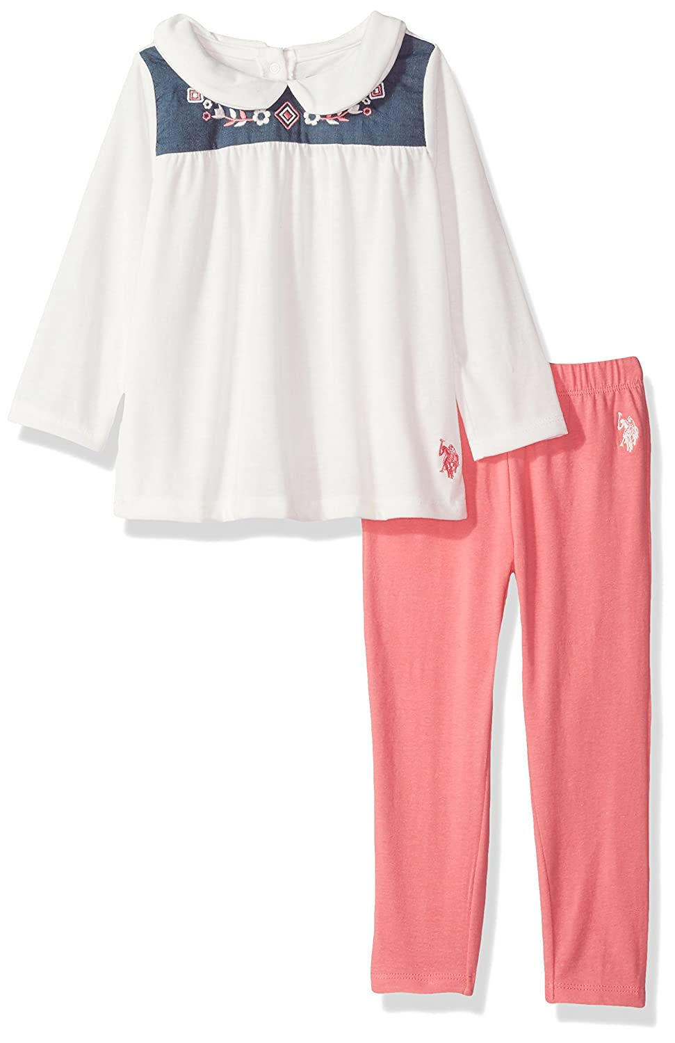 U.S. Polo Assn. Girls' Fashion Top and Legging Set, Red-3274