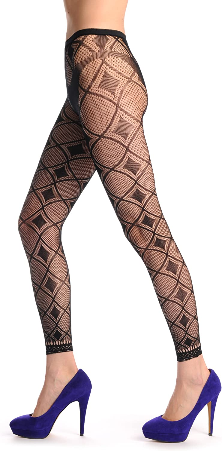F000222 Black and Transparent Rectangles With Lace Trim Footless Fishnet