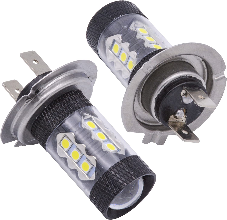 KATUR 2pcs 900 Lumens 80W High Power H7 Headlight DRL Fog Light Lamp Bulbs Aluminum Lens 3030 16SMD Car Truck RV Camper Daytime Running Driving Light 6000K Xenon White 12V