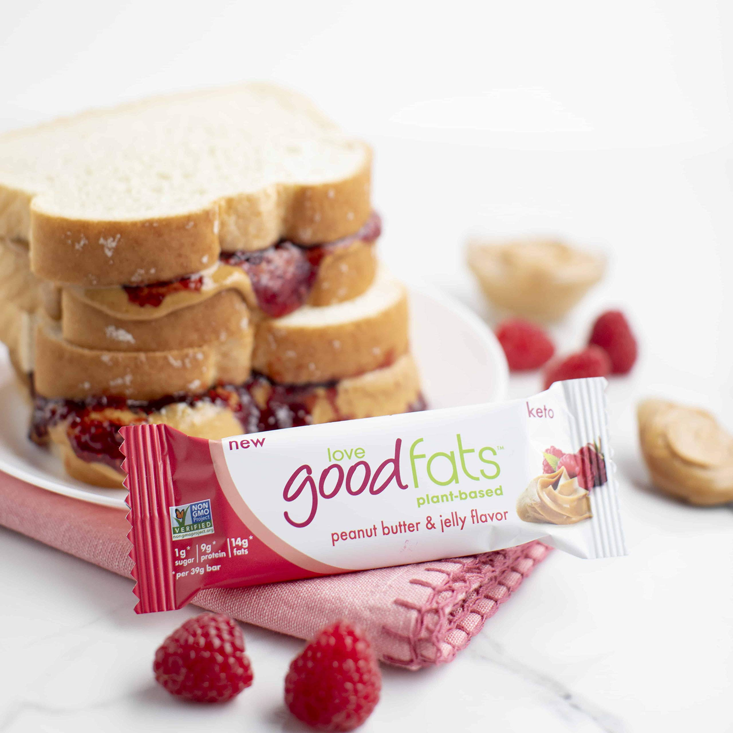 Love Food Fats - Plant Based Bars - Peanut Butter & Jelly - Vegan, Keto Friendly, Low Carb, Low Sugar, Gluten-Free, Non GMO - 1.38 Ounce (12 Pack) by love good fats (Image #5)