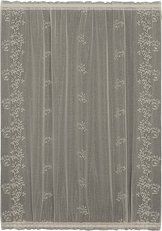 "Ivory//Ecru Lace Semi Sheer Curtain Panel 1 40/"" W x 48/"" L One"