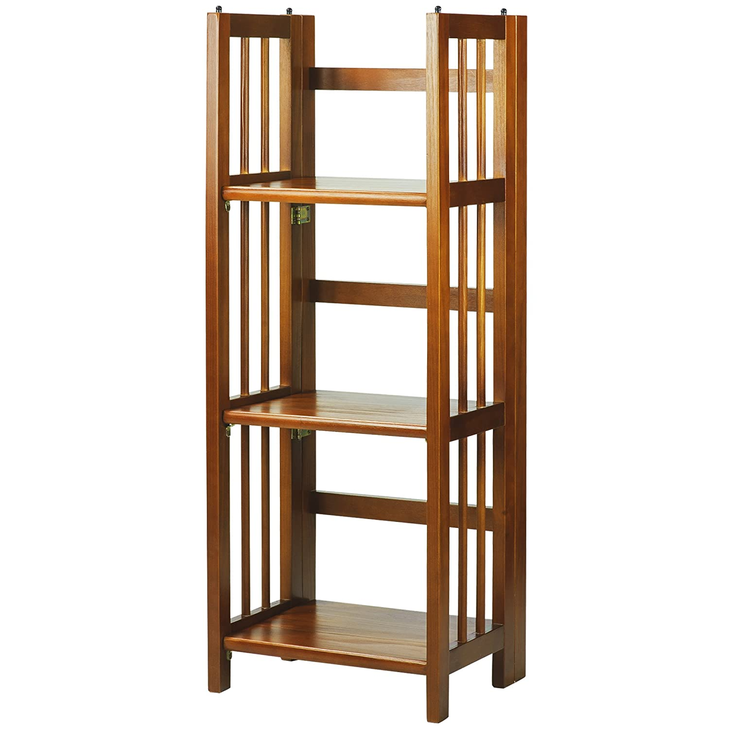 "Casual Home 3-Shelf Folding Bookcase (14"" Wide)-Honey Oak"