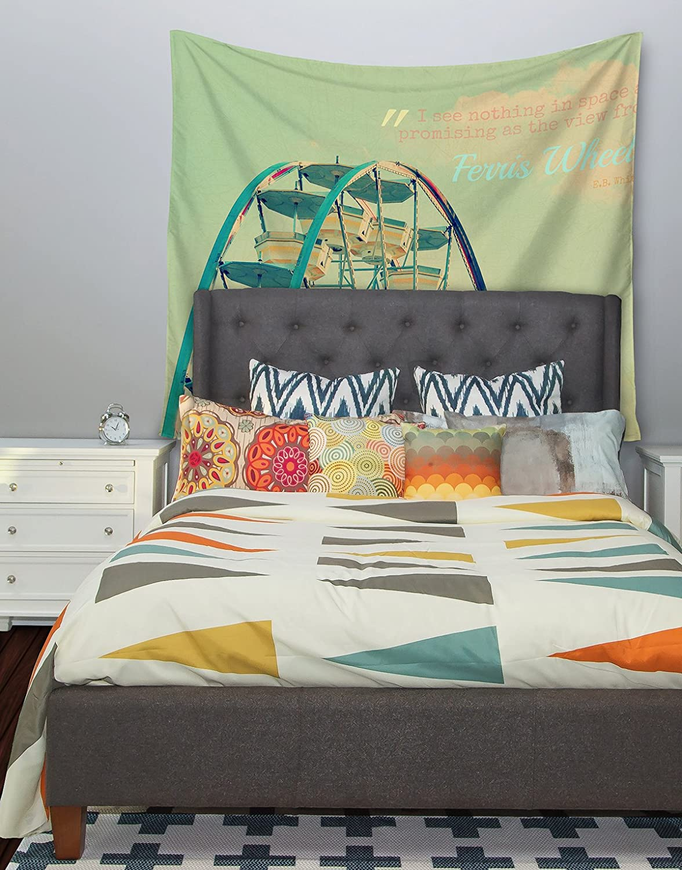 Kess InHouse Robin Dickinson Ferris Wheel Green Yellow Wall Tapestry 68 X 80
