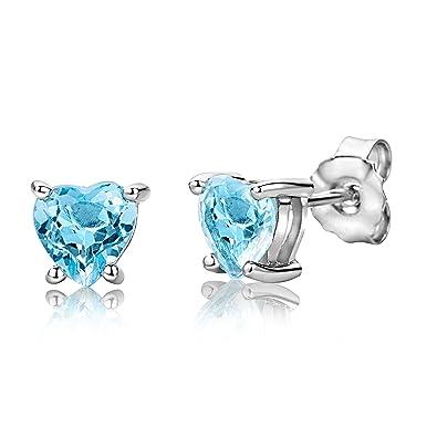 ByJoy Earrings for Women Sterling Silver heart Studs earrings Sky Blue Topaz 925 Silver 5bT47t8F