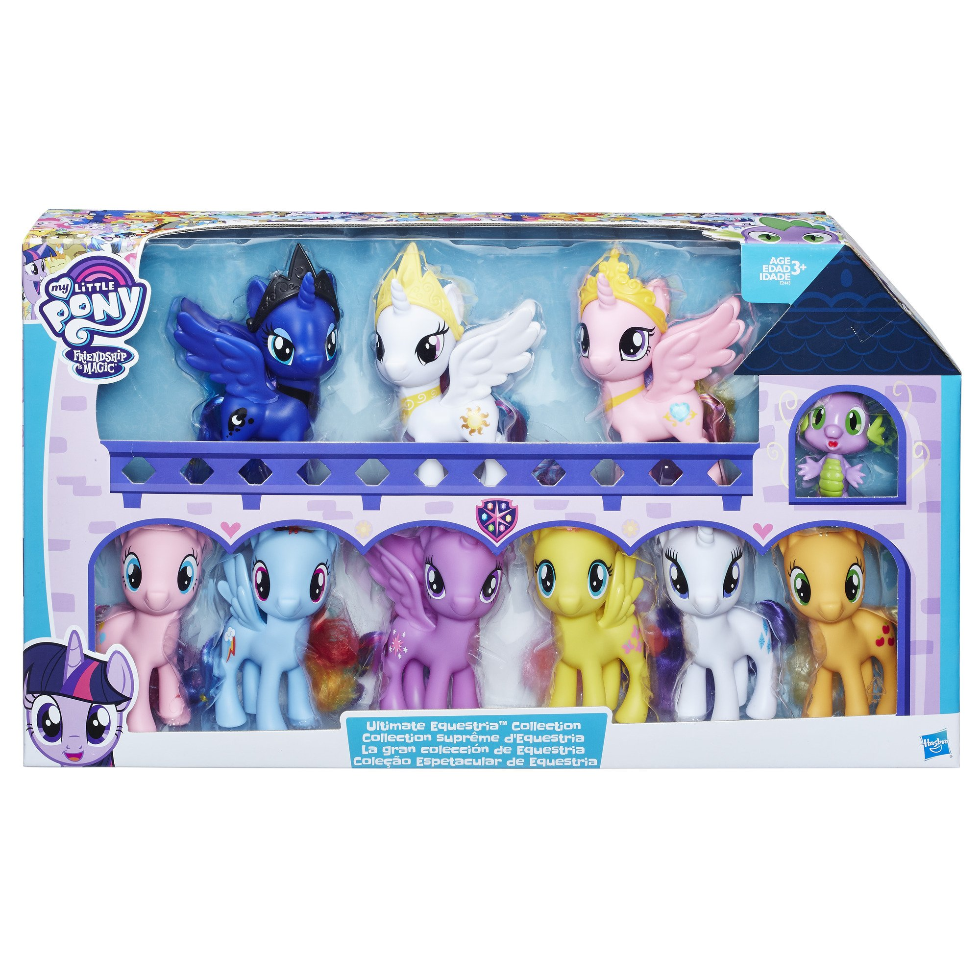 My Little Pony Friendship is Magic Toys Ultimate Equestria Collection - 10 Figure Set Including Mane 6, Princesses, and Spike the Dragon - Kids Ages 3 and Up