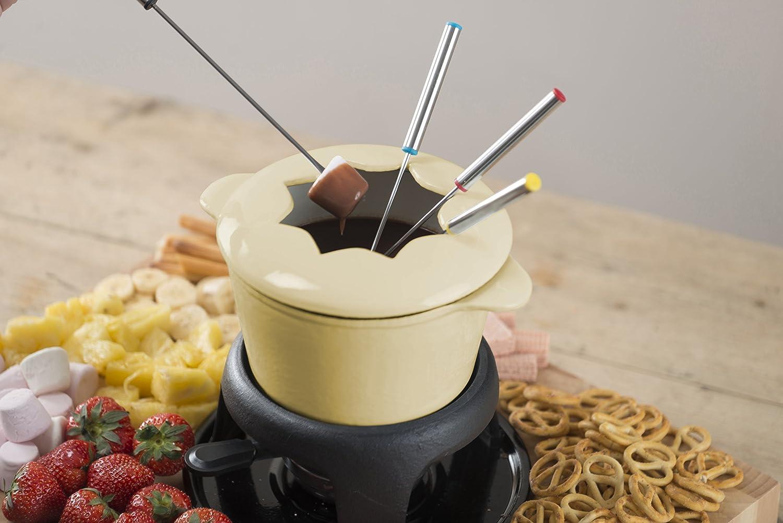 Kitchen Craft Emailliertes Fondue-Set aus Gusseisen mit 6 Gabeln cremefarben