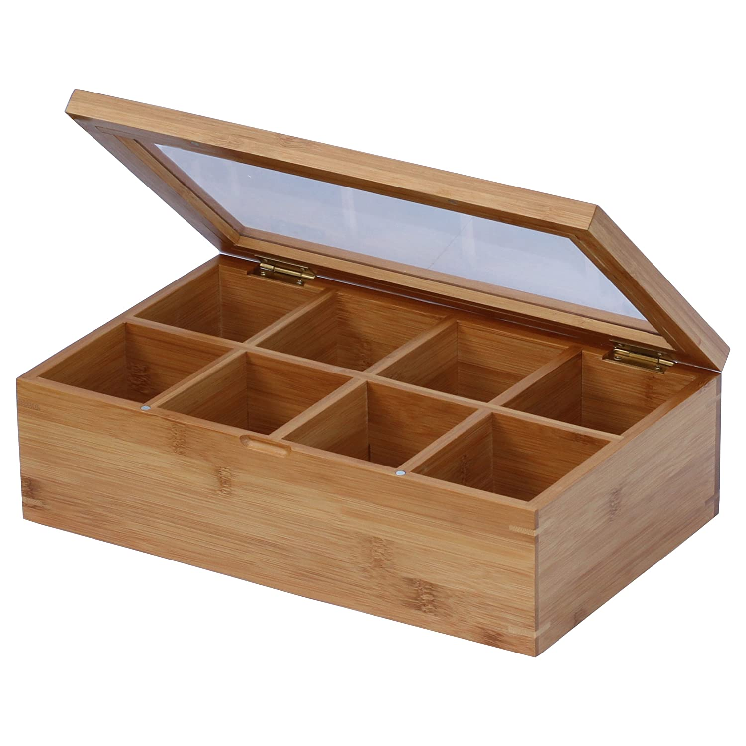 Natural Bamboo Tea Box for easy viewing Image