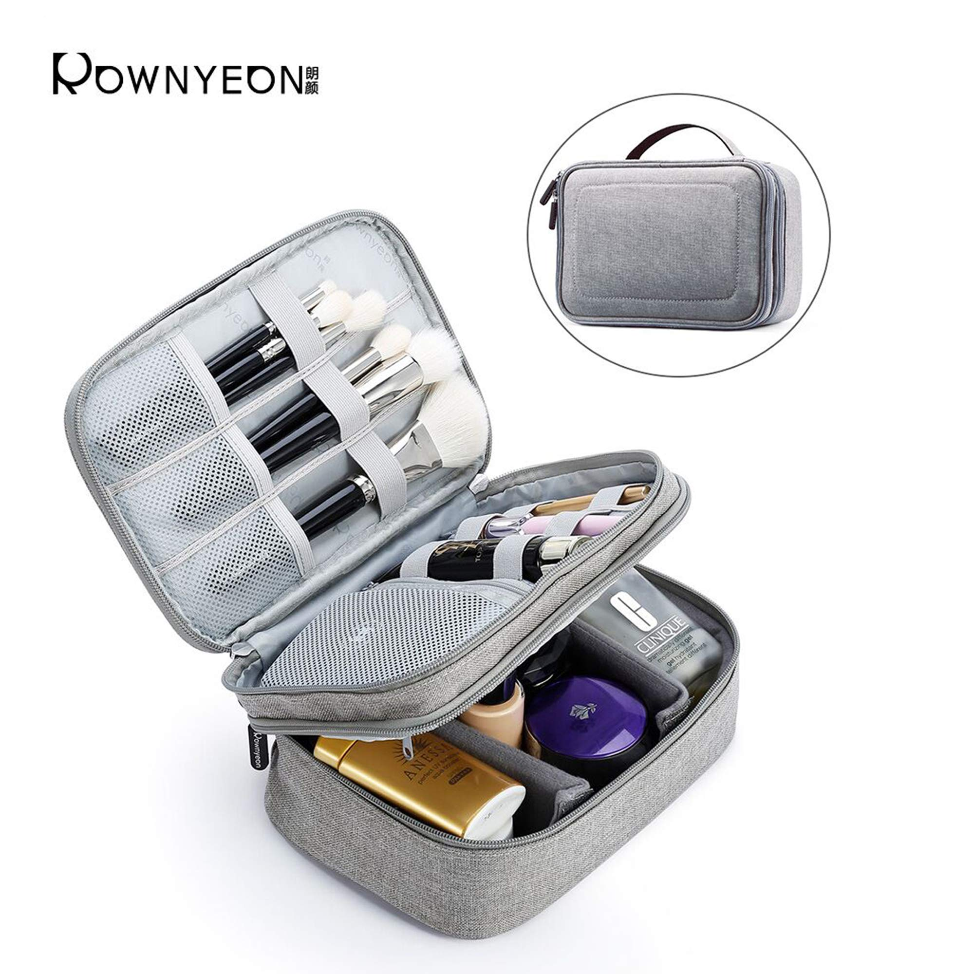 Rownyeon Travel Makeup Bag Waterproof Portable Cosmetic Cases Organizer Mini Makeup Train Cases with Adjustable Dividers for Cosmetics Makeup Brushes Toiletry Jewelry Digital