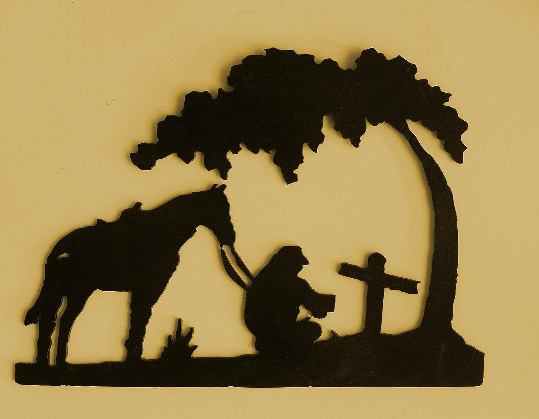 Amazon.com: Western,Cowboy,Metal Art, Horse, Praying,cowboy metal ...