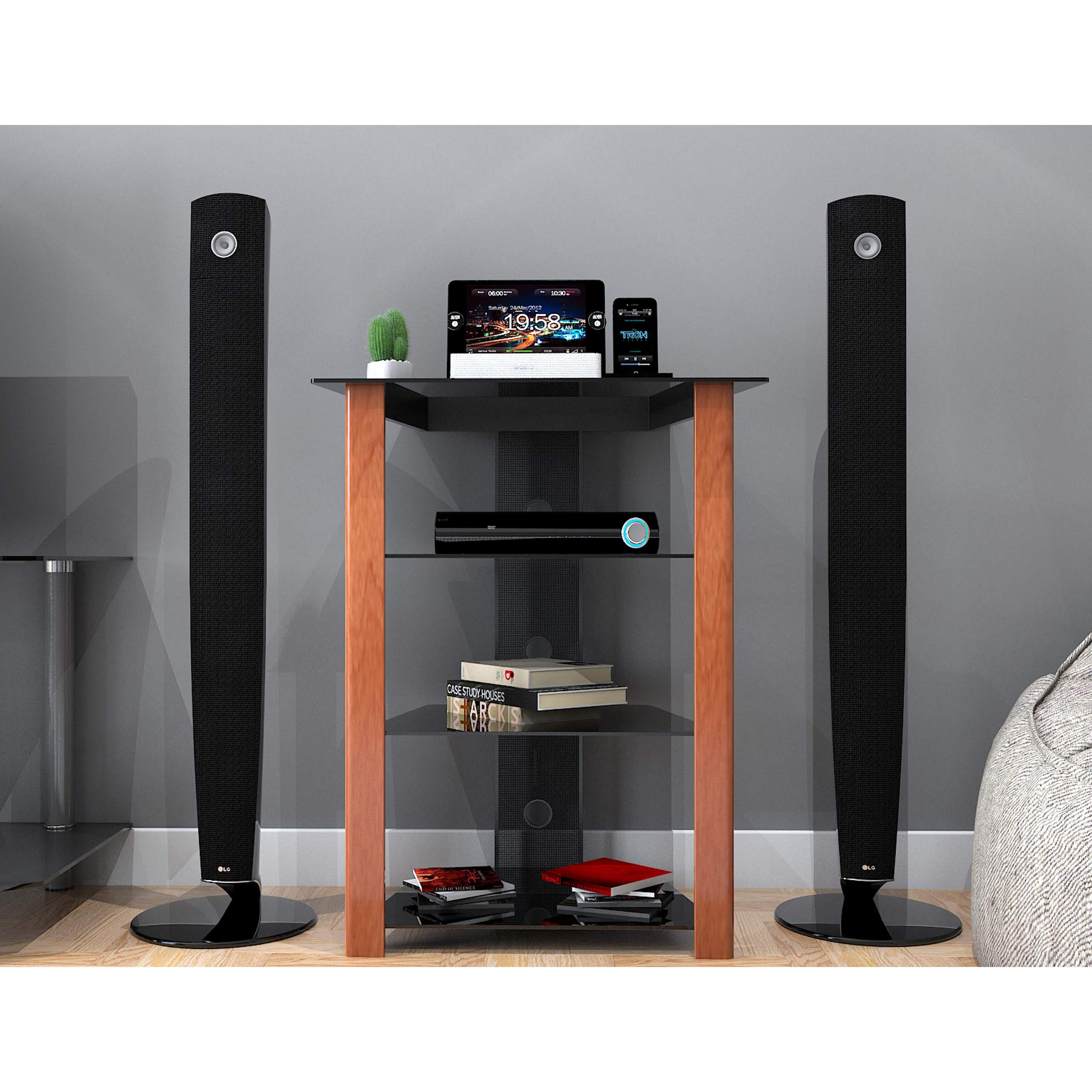 Ryan Rove Ashton Multi-Level Media Component Stand - Living Room Furniture, Home Theater System, Entertainment Center, Console Shelf and Storage Rack - Cable Management, Glass Shelves - Wood Cherry by Ryan Rove