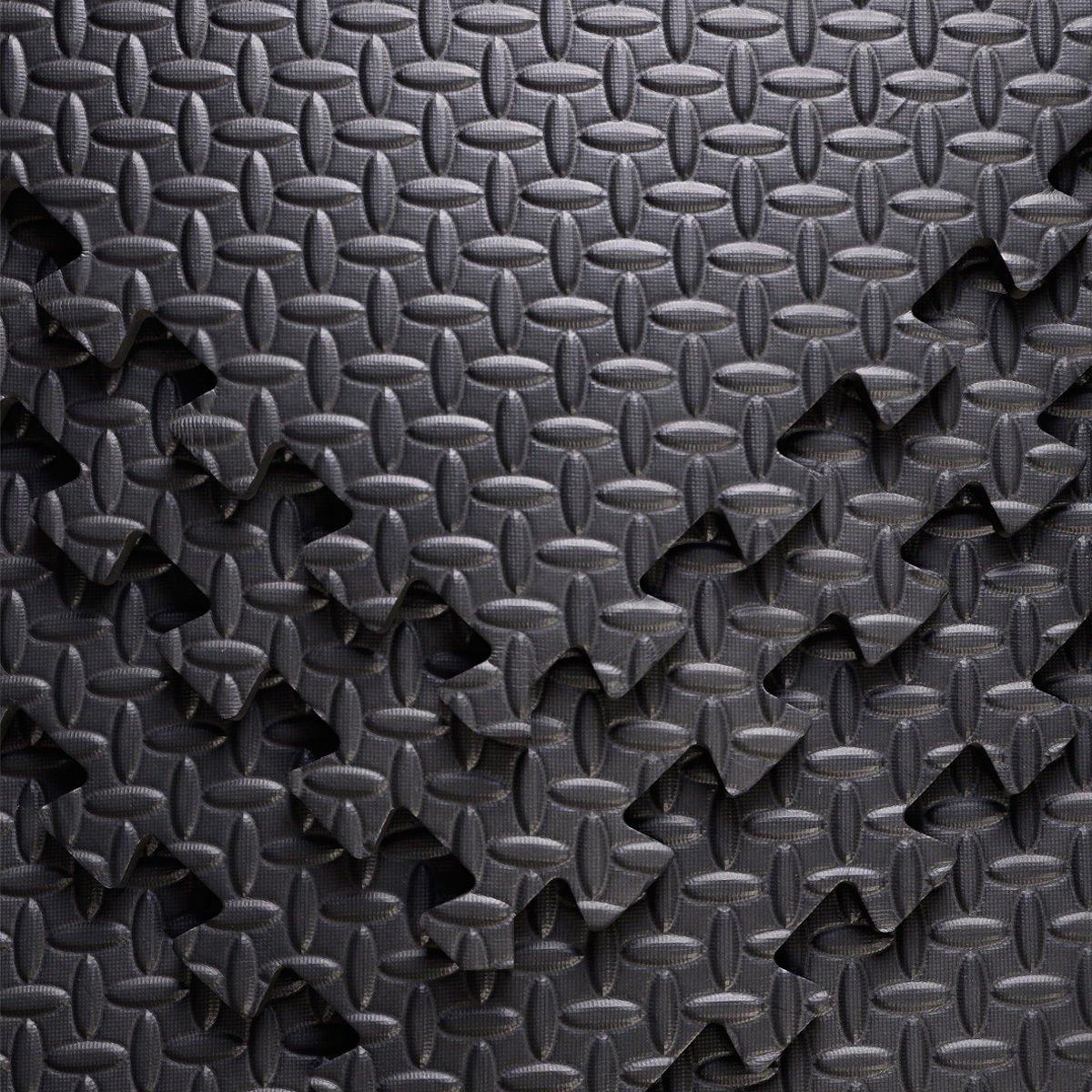 FB FunkyBuys/® negro 64/SQ FT easimat Reversible estera alfombrillas de suelo de protecci/ón para gimnasio al aire libre//uso en interiores adecuado/ /-60/x 60/cm