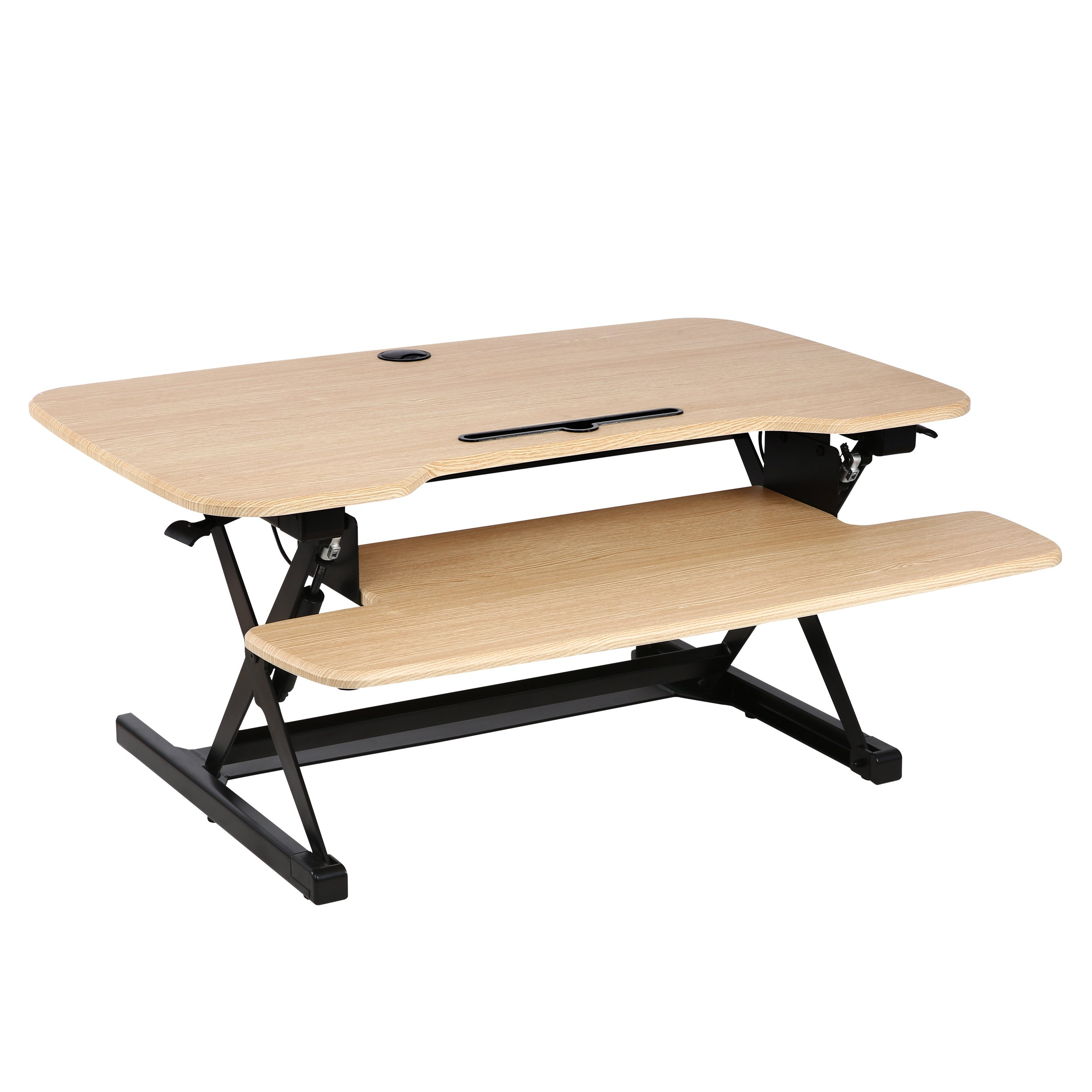 Poly and Bark Crafron Sit-to-Stand Desk Extra Wide 38.5'' with Dual Monitor Capabilities and 17.5'' Max Height in Natural