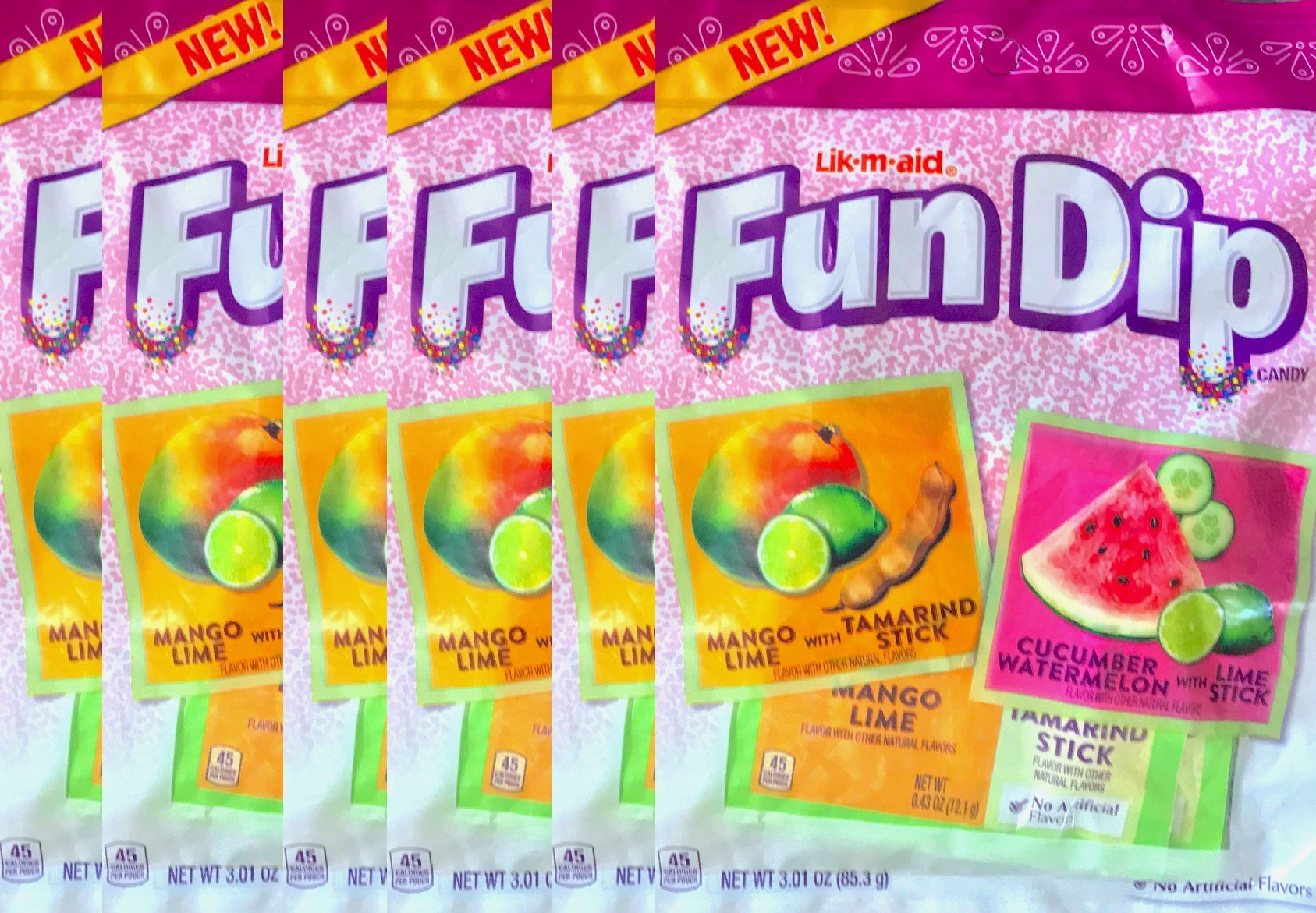 Fun Dip Candy Mango Lime With Tamarindo Stick/Cucumber watermelon With Lime Stick Net Wt 3.01 Oz (6)