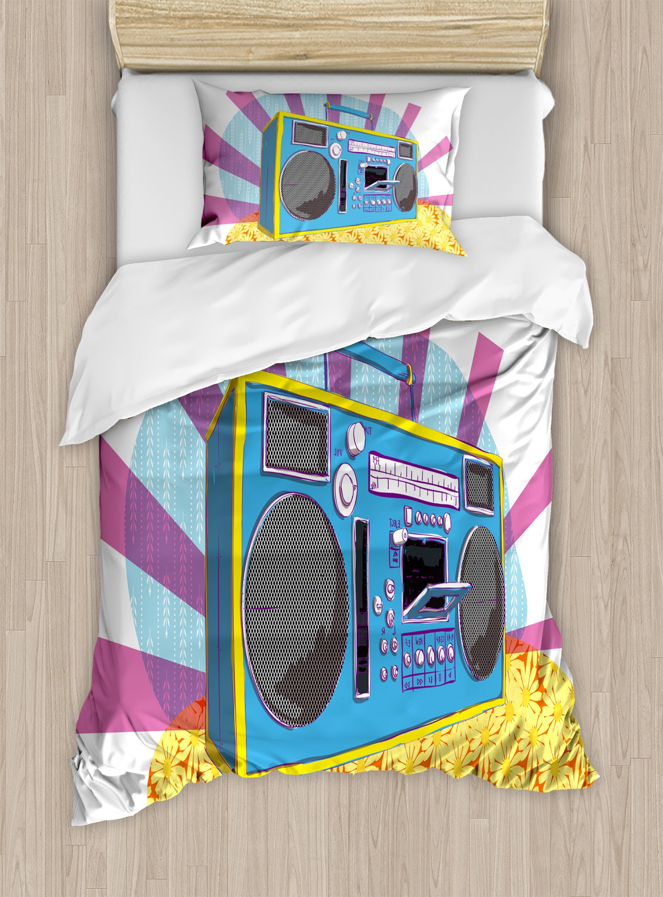Ambesonne 70s Party Duvet Cover Set Twin Size, Retro Boom Box in Pop Art Manner Dance Music Colorful Composition Artwork Print, Decorative 2 Piece Bedding Set with 1 Pillow Sham, Multicolor