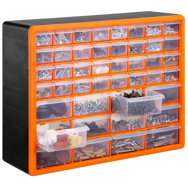 VonHaus Casier/Armoire de Rangement 30 Tiroirs/Compartiments – Noir/Orange Others