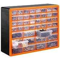 VonHaus Casier/Armoire de Rangement 44 Tiroirs/Compartiments – Noir/Orange