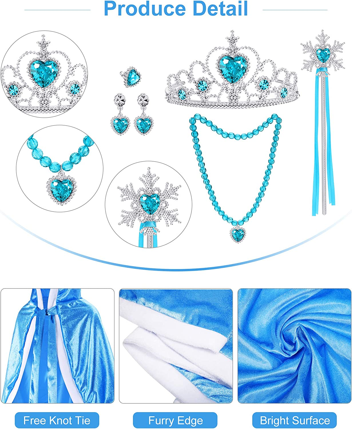 7 Pieces Princess Costume Accessories for 2-4 Years Little Girls Dress up Christmas Birthday Cosplay Hooded Cape Wand Set