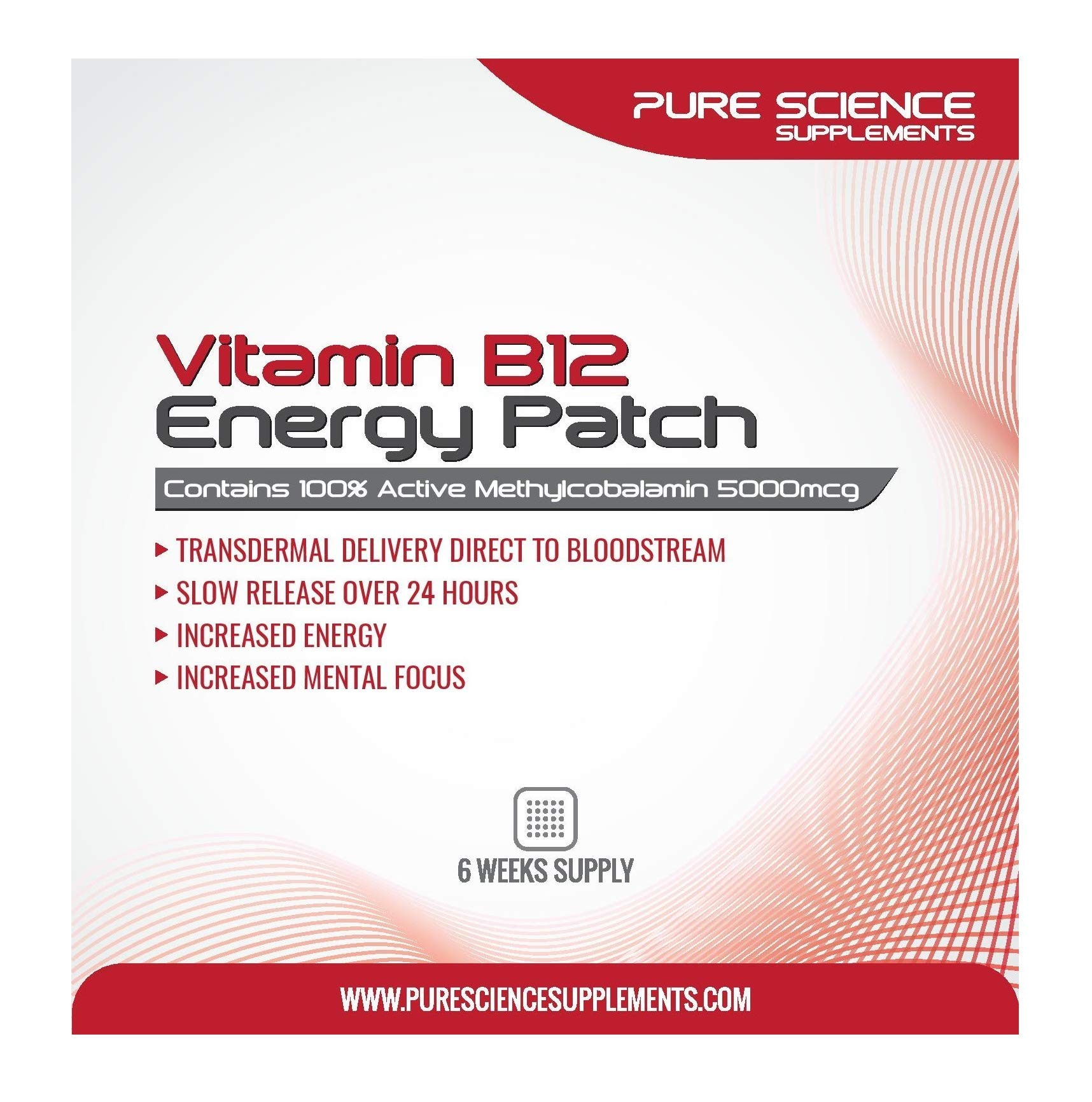 Pure Science Transdermal Vitamin B12 Patches 5000mcg - 6 Weeks Supply