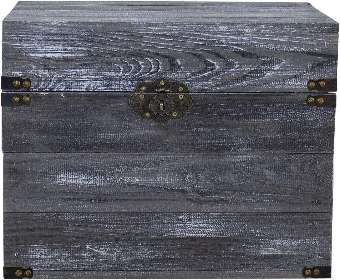 NEU 45x35x35 cm Shabby Chic Truhe als Wohnaccessoire /& Stauraum Obstkisten-online 1x Schwarze HOLZKISTE mit Deckel und METALLBESCHL/ÄGEN