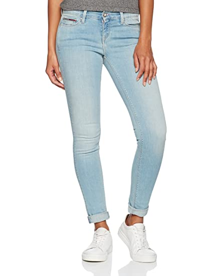 307156f5 Tommy Jeans Women's MID Rise Skinny Nora SGBST Jeans, (Soft Grey Blue  Stretch 911