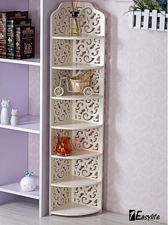 madera Blanco 3 o 4 estantes Estanter/ía para organizar CD y DVD de color blanco 2 niveles perfecta para la oficina o el hogar y de 2