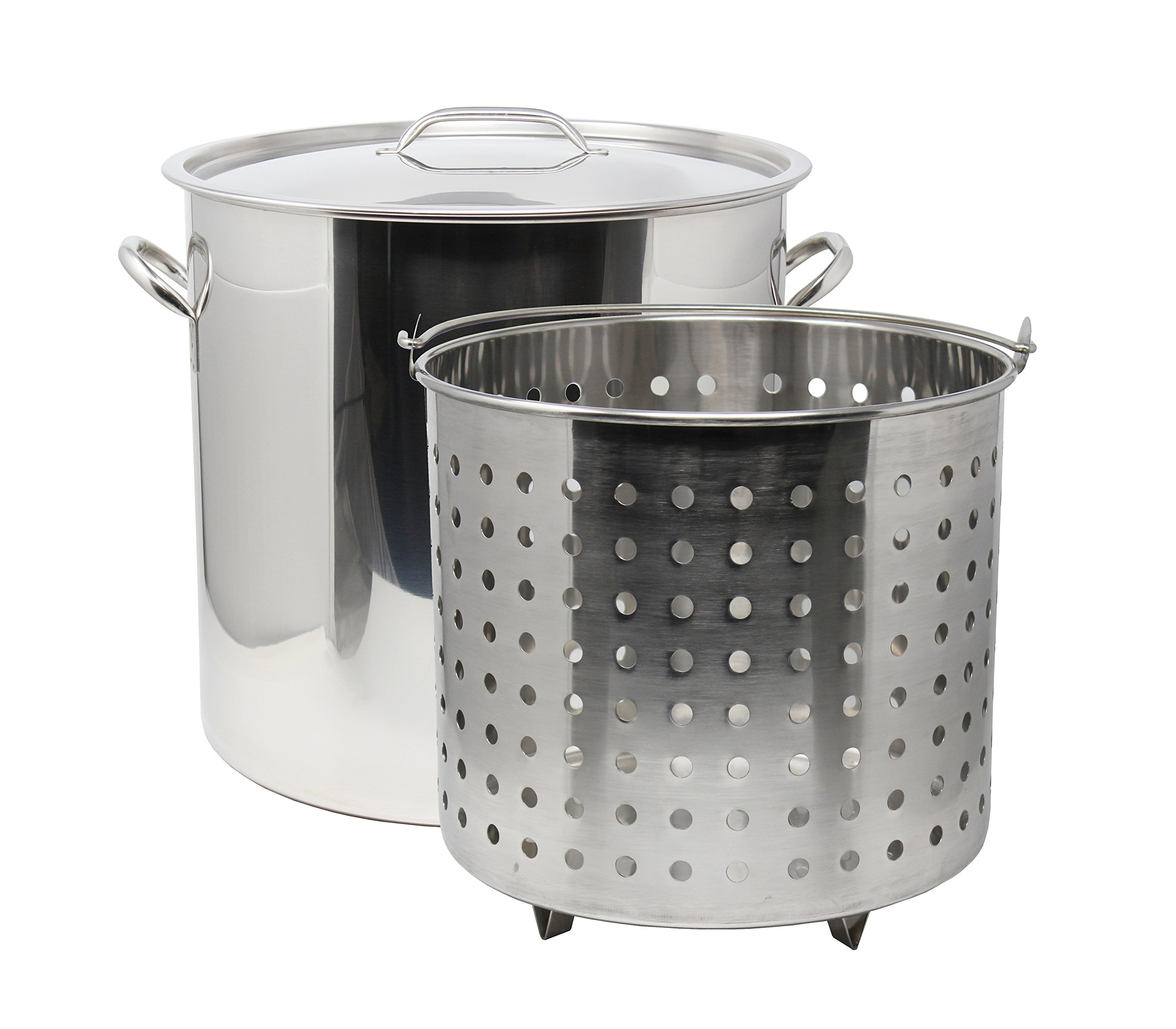 CONCORD 53 QT Stainless Steel Stock Pot w/Basket. Heavy Kettle. Cookware for Boiling by Concord Cookware