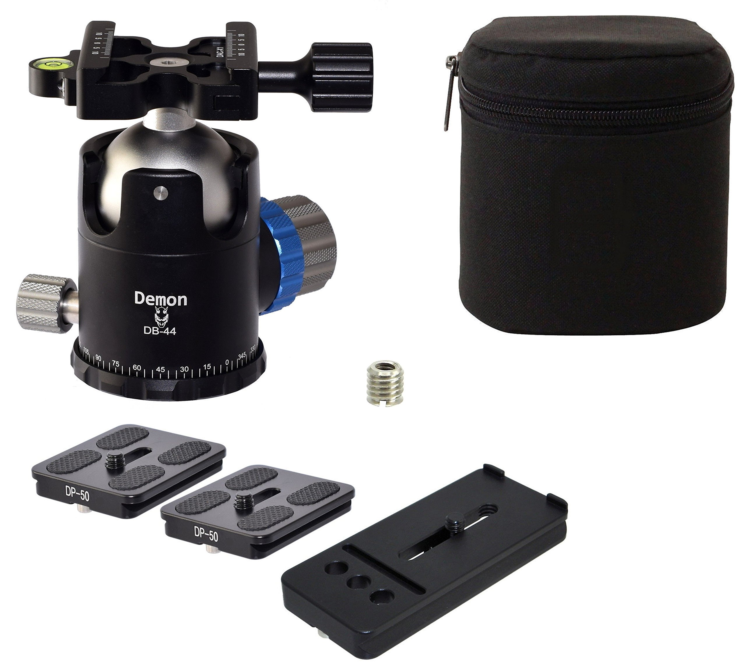 Demon KIT DB-44 & 3 QR Plates 46mm Tripod Ball Head Arca Compatible with Pan Lock Desmond by Demon